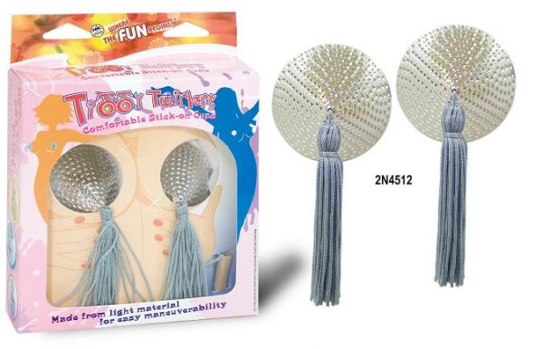 BREAST TITTY TWIRLS TASSELS SILVER